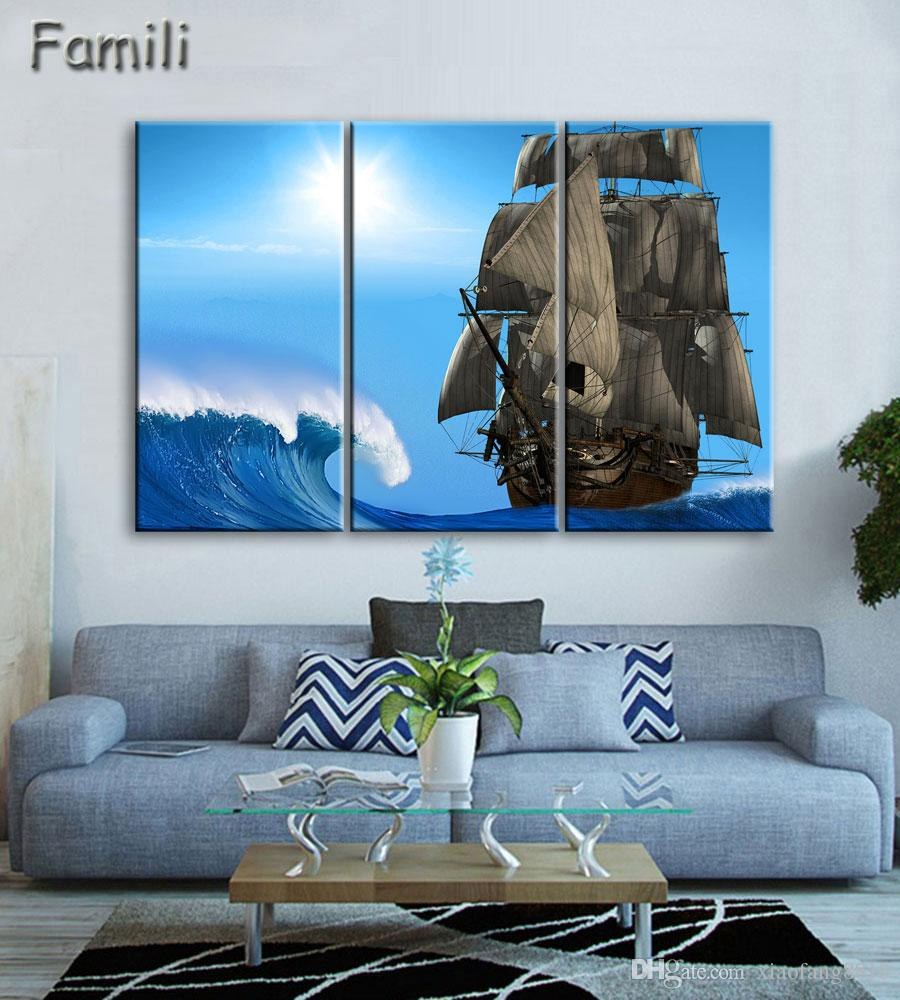 20193pcs Art Modern sea green blue beach Wave picture decoration canvas painting wall picture for living room home decor unframed