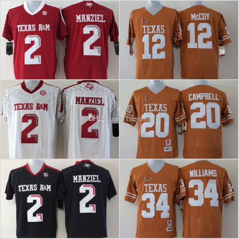 best website 0f1c8 9209a Youth Texas A&M Aggies 2 Johnny Manziel Jerseys Longhorns 12 Colt McCoy 20  Earl Campbell 34 Ricky Williams Black Red White Yellow Stitched