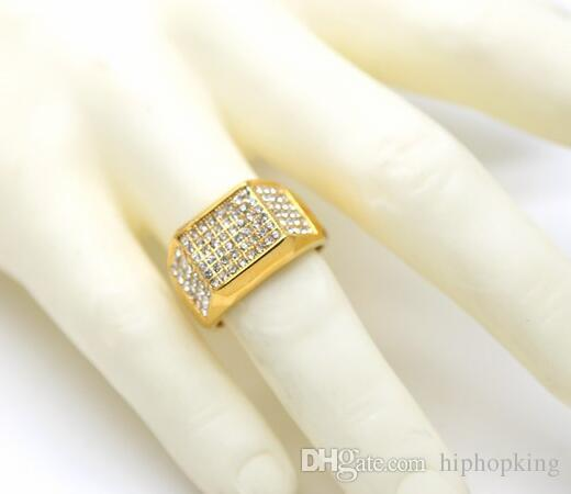 1a822e1e8257e 24k Gold Band Men s Micropave CZ Crystal Hip Hop Bling Iced Out Pinky Ring