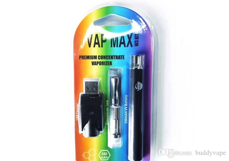 micro vaporizer e cigarette kit 510 A3 dual coil cartridge smoking vape pen glass tank with preheating function VV battery thick wax oil cig
