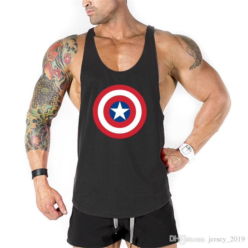 6516bfd74dad27 2019 Brand Clothing Captain America Gyms Tank Top Men Bodybuilding Fitness  Men Golds Vest Stringer Singlets Sportswear Undershirt  328723 From  Jersey 2019
