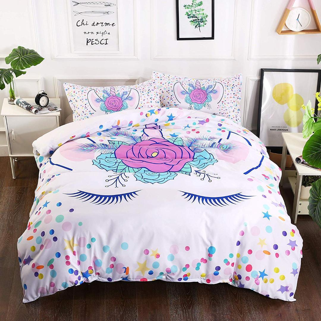 Großhandel Neue Einhorn Farben 3d Bettwäsche Sets Für Kinder