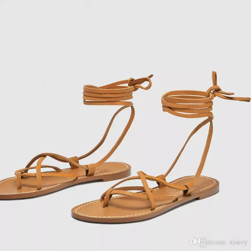 07ee23b9e45c Sandal Gladiator Summer Cross Ties Beach Flat Base Joker Ethnic Style PU  Bowtie Solid Casual Unique Girls Sandals White Sandals From Xisioy