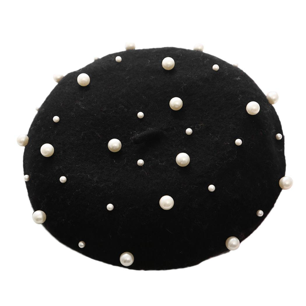 2019 2018 Vintage Wool Pearl Beret Cap Women French Hat Autumn Winter Warm  Beading Baret Caps Boina Elegant Ladies Solid Painter Hats From  Blackfridayes 130a1f210e9