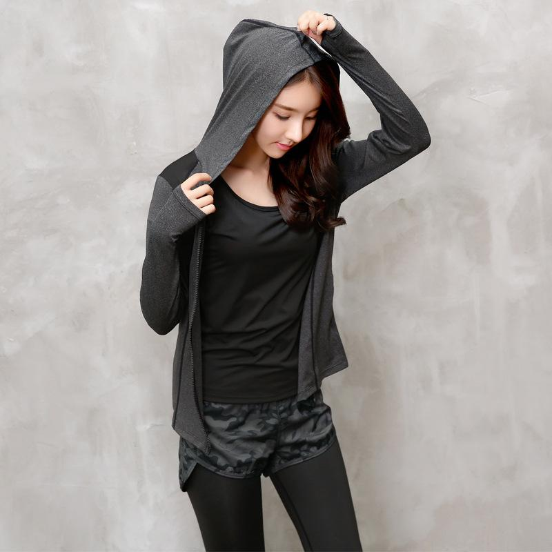Camouflage Black Gray Long Sleeve Hooded Fitness Yoga T Shirt Running Jacket Sport Jerseys Sweatshirt Jogging Women Sportswear