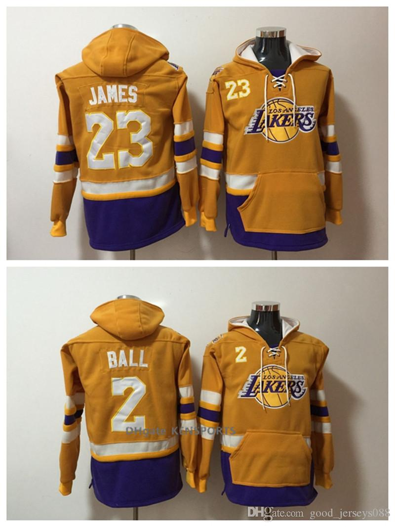 Men Los Angeles Basketball Lakers Hoodie 23 LeBron James 2 Lonzo ... 17dac7fc2