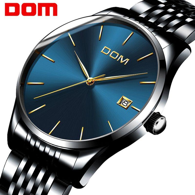 96946980c83 Compre DOM Marca 2018 Nova Moda Simples Homens Relógio À Prova D  água Azul  Dial Casual Relógios De Quartzo Homens Com Data Relógio De Pulso Zegarek  Meskie ...