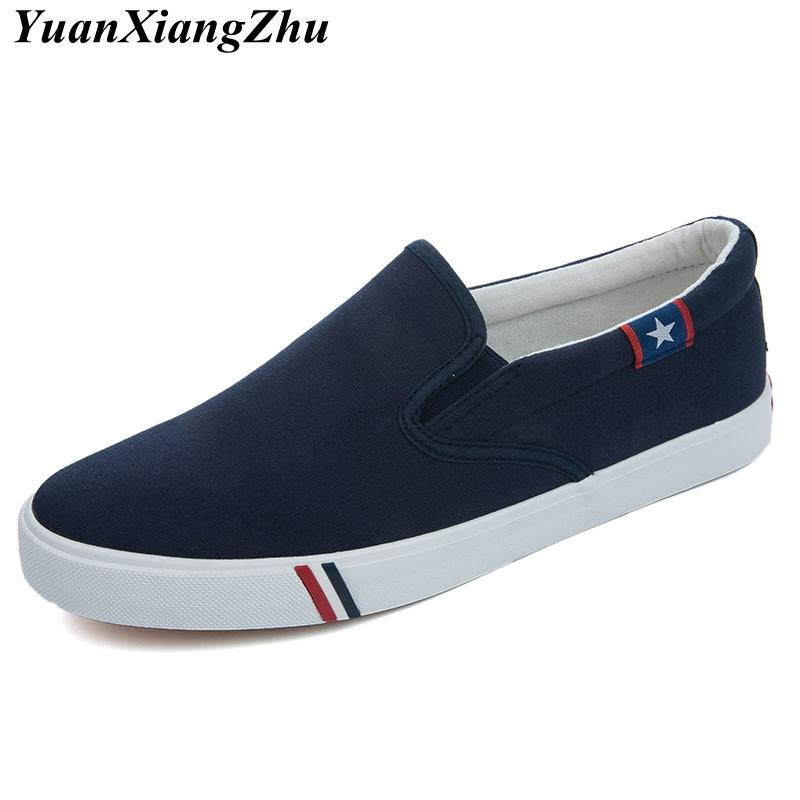 52a27c3b2db Men Canvas Shoes Simple Casual Mens Loafers 2018 Autumn High Quality  Anti-Slip Comfortable Vulcanized Shoes Man Flats Size 35-47 Men s Casual  Shoes Cheap ...