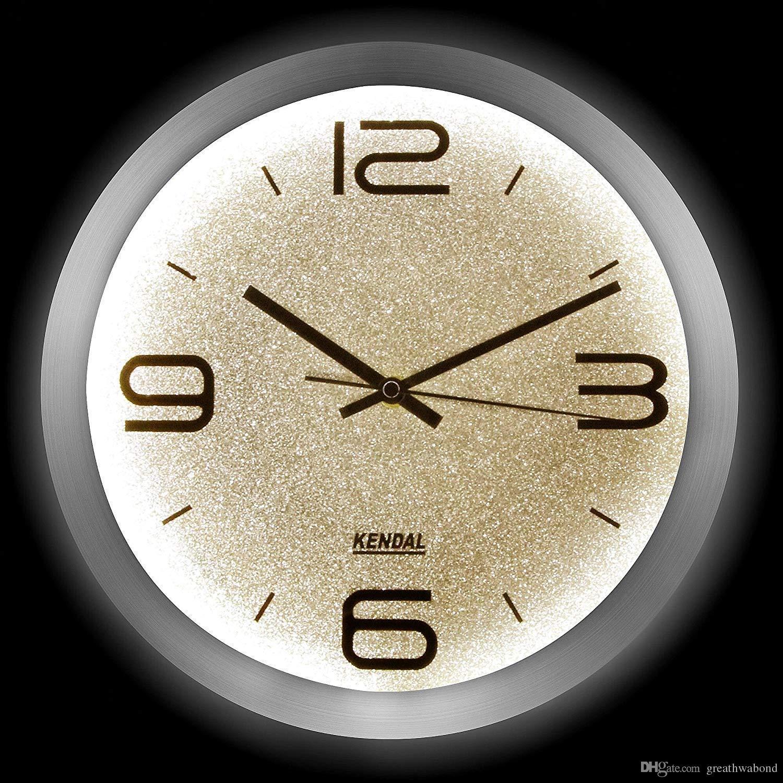 3315d1e4d5c Acquista 12 Pollici LED Silenzioso Orologio Da Parete Moderno Con Luce  Notturna Soggiorno