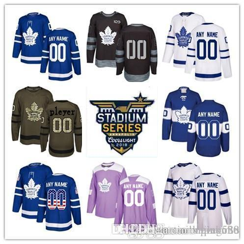 fcca40939 2019 2018 Custom Toronto Maple Leafs Mens Womens Youth Kids White Green  Camo Green Home Royal Blue 2017 Centennial Third Hockey Jerseys Stitched  From ...