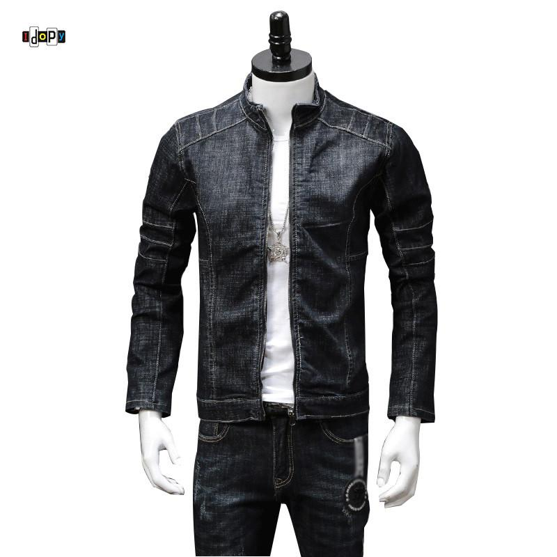 Idopy New Men S Jean Jacket Motorcycle Stand Collar Zipper Up