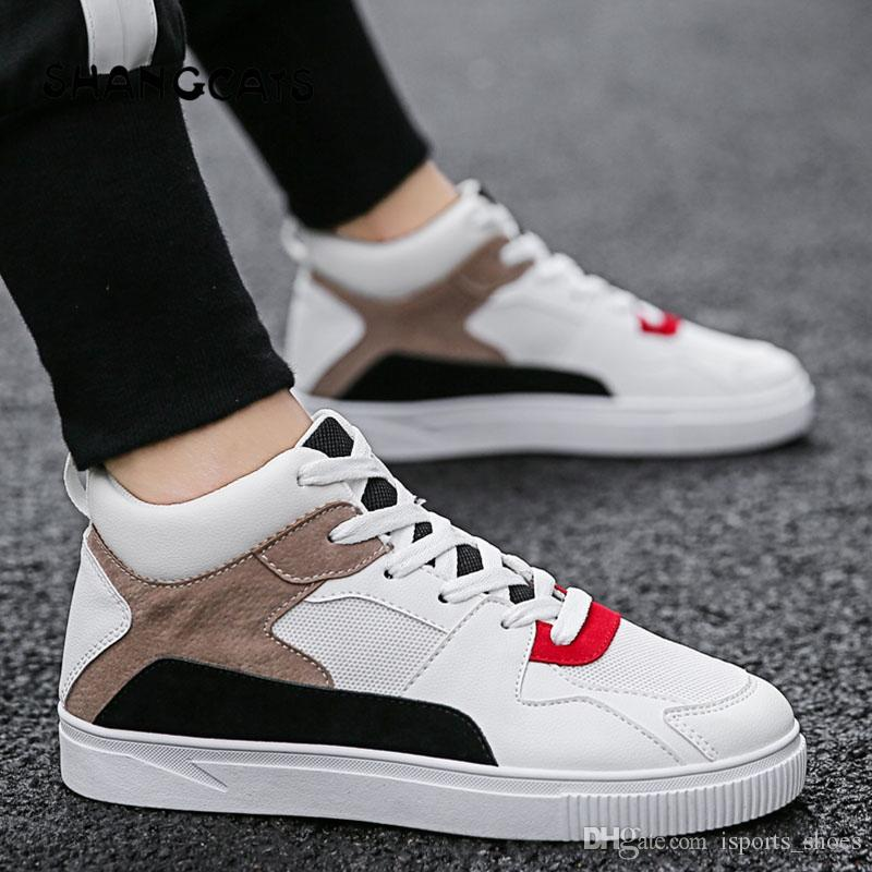 Men's Shoes Men's Vulcanize Shoes Fashion 2018 Mens Vulcanized Shoes Black High Top Lace-up Winter Casual Shoes For Men Boys Sneakers Without Lace