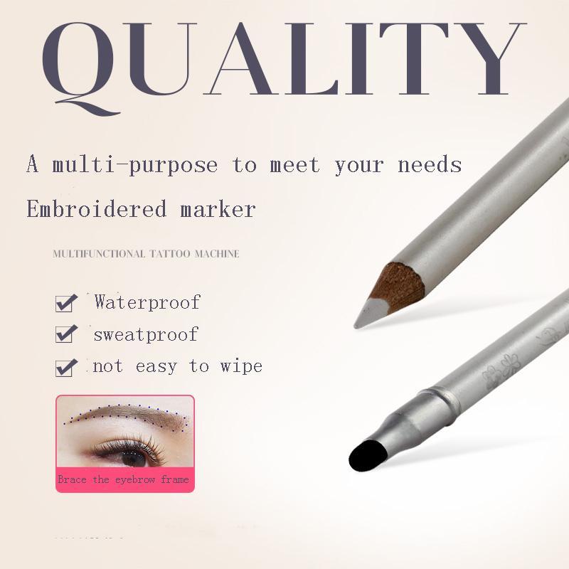 Weiß Doppelkopfhandgemachte Augenbraue-Feder Semi-Permanent-Stickerei-Tätowierung-Maschine Hochwertige Augenbrauenstifte für Shader