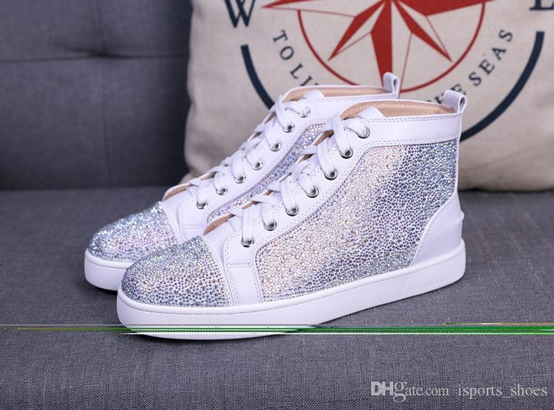 6cb79641ef2 2018 Men Women Designer Brand Red Bottom Shoes Fashion Spikes Studded Flats Sneakers  Comfortable Genuine Leather Casual Shoes  161526 Red Shoes Footwear ...