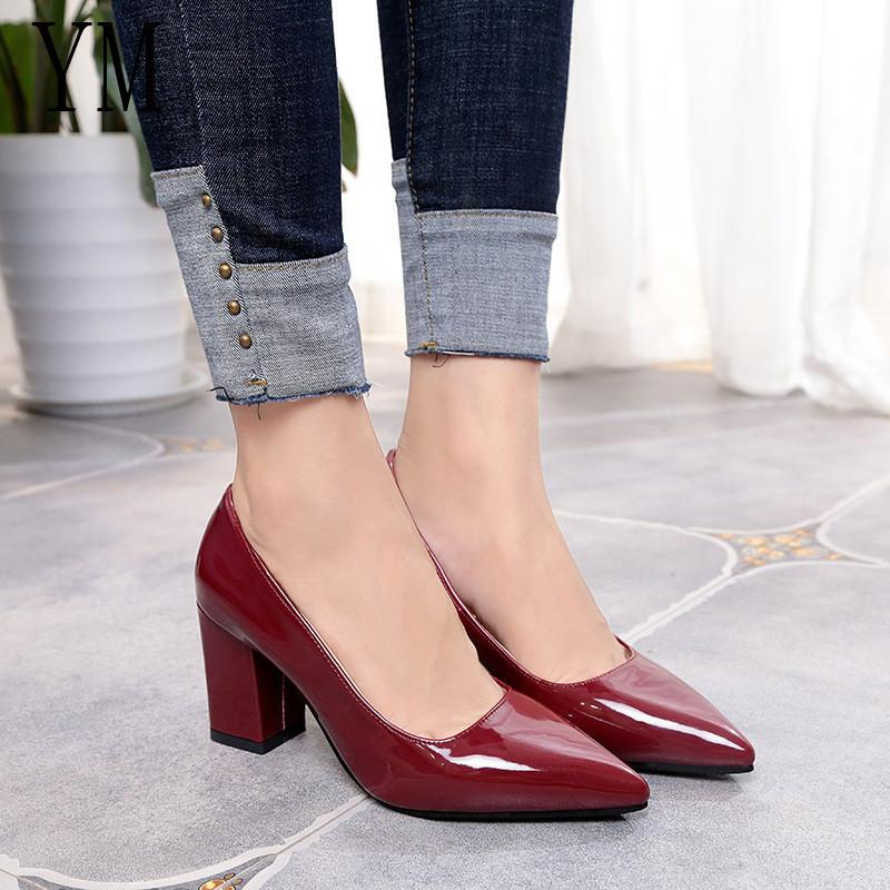 8f4646d558e 2019 2019 New Women Pumps Black High Heels 7.5cm Lady Patent Leather Thick  With Autumn Pointed Single Shoes Female Sandals Big 33 43 Munro Shoes Vegan  Shoes ...