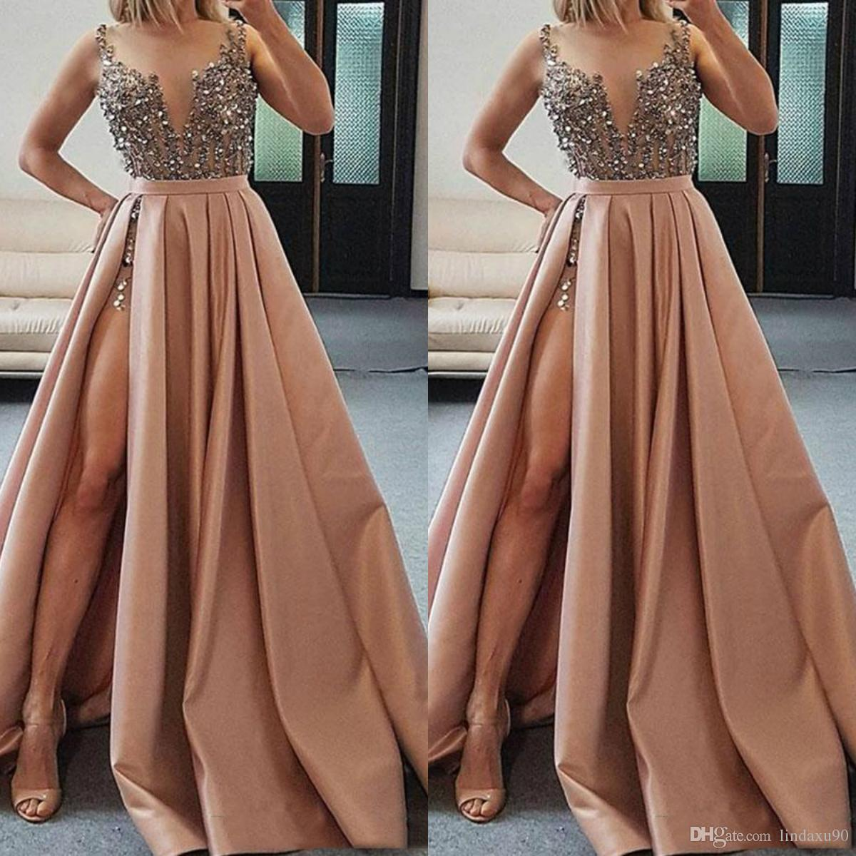 Beaded Split Satin Prom Dresses A Line Sheer V Neck Crystal Evening Gowns Sweep Train Formal Cocktail Dress