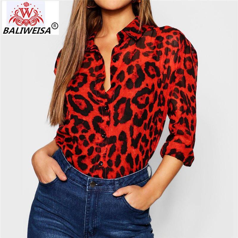 995f5f74f3c809 2019 Spring Shirt 2019 Leopard Print V Neck Long Sleeve Ladies ...