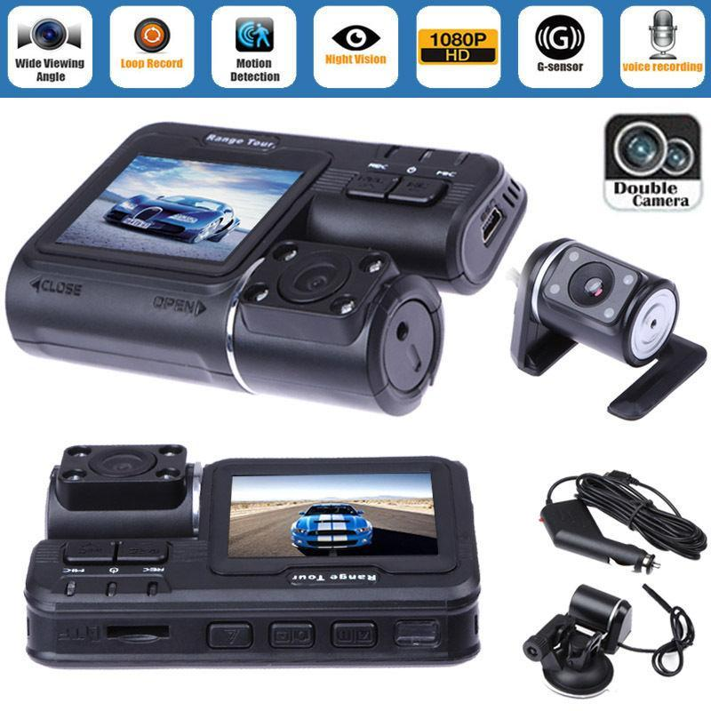 "Dual Lens Car DVR Camera 2.0"" Full HD 1080P LCD Video Dash Cam+Rear View Camera"