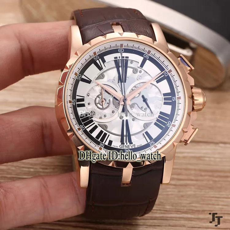 Cheap New EXCALIBUR RDDBEX0247 45MM Japan VK Quartz Chronograph White Dial Mens Watch Rose Gold Leather Strap Gents Watches hello_watch