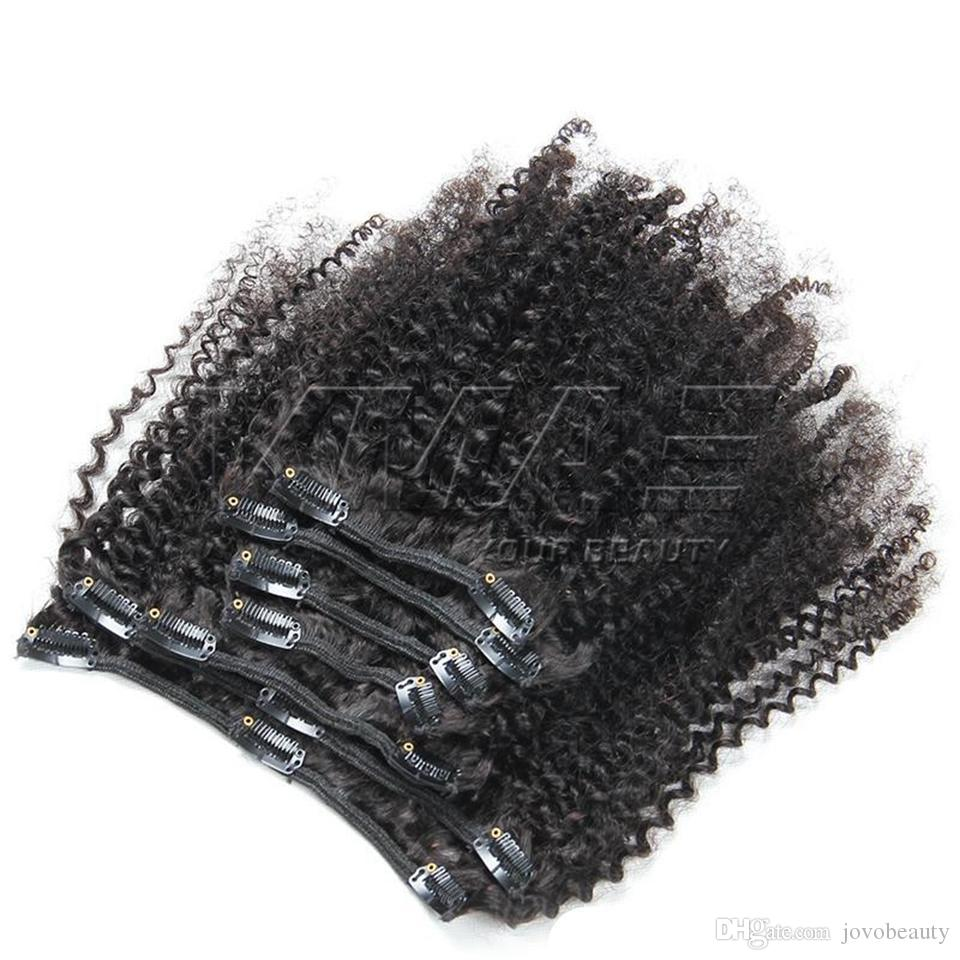 Brazilian Afro Kinky Curly Clip In Human Hair Extensions 7 Pcs Set 4B 4C Clips In Hair Extensions 100g 120g 160g VMAE Hair