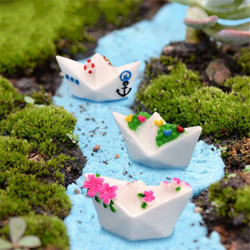New 3PC/Set Resin Craft Paper Boat Model Figure Toys Micro Garden Decoration Ornaments Terrariums Miniature DIY Accessories
