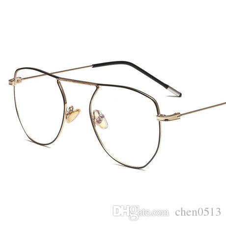 New flat mirror retro glasses frame mesh red with metal glasses frame men and women decorative glasses frame