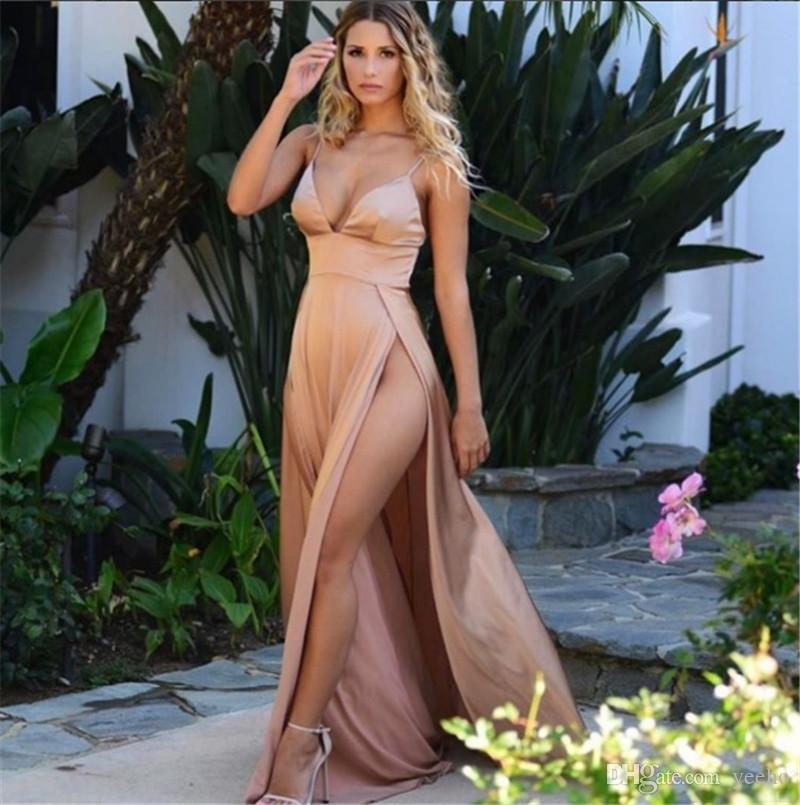 Summer Sequin Sexy Dress Women Vestidos Solid High Slit Elegant Maix Long Dress V Neck Night Club Party Dresses Women N19.6-1950