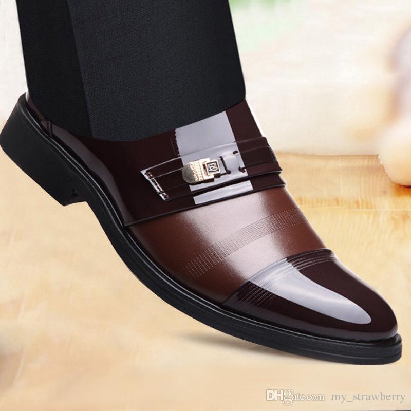 d744c94d7d441a Men Shoes Flats 2019 New Fashion England Men Leather Shoes Business Suit  British Pointed Toe Male Casual Loafers Office Formal Shoes Men Sandals Best  Shoes ...