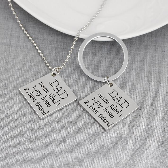 dad is my hero best friend keychain letter alloy key chains rings necklace fashion jewelry for fathers day gift cca10889 dad is my hero best friend