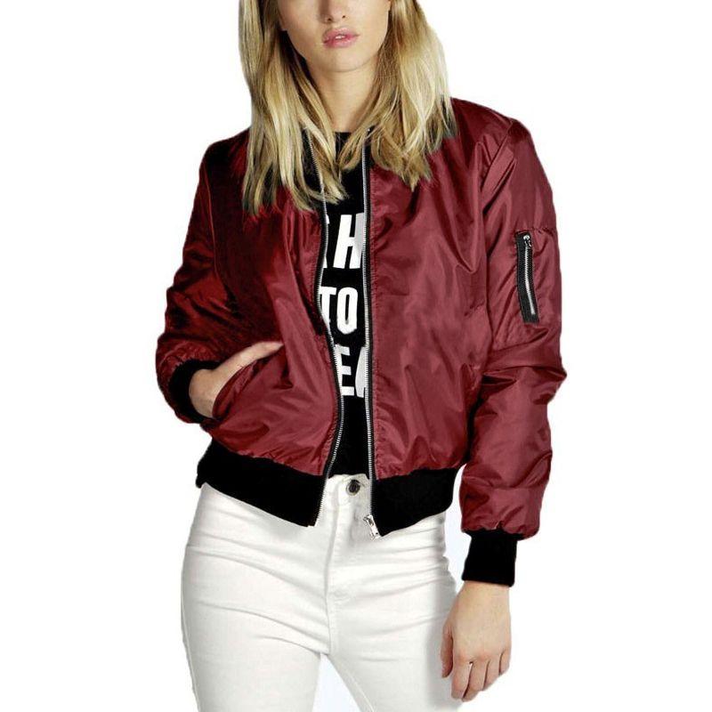 274d0e0549b0 Весна Осень Женщины Леди Куртки Мода Basic Bomber Куртка С Длинным Рукавом  Пальто ...