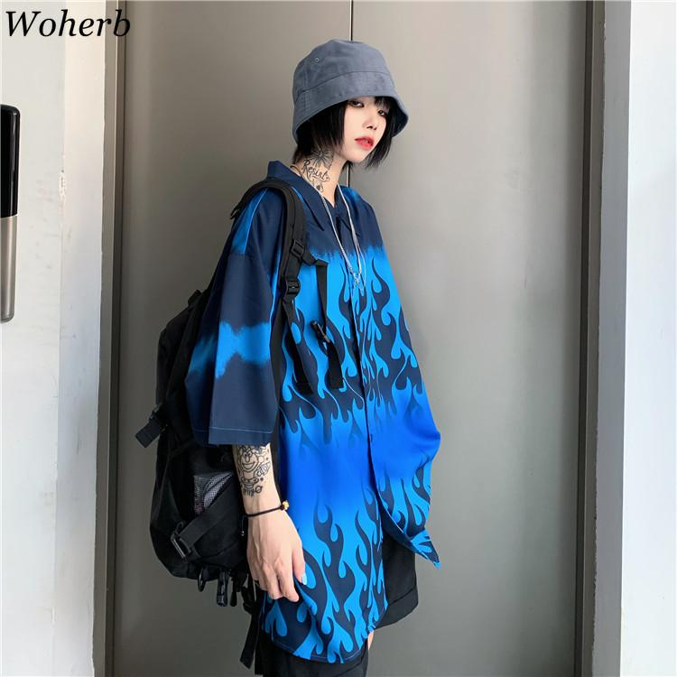 Woherb Harajuku Loose Summer Tops Women Man Casual Blue Flame Print Blouse Short Sleeve Oversize Blusas Shirt Hip-hop Streetwear