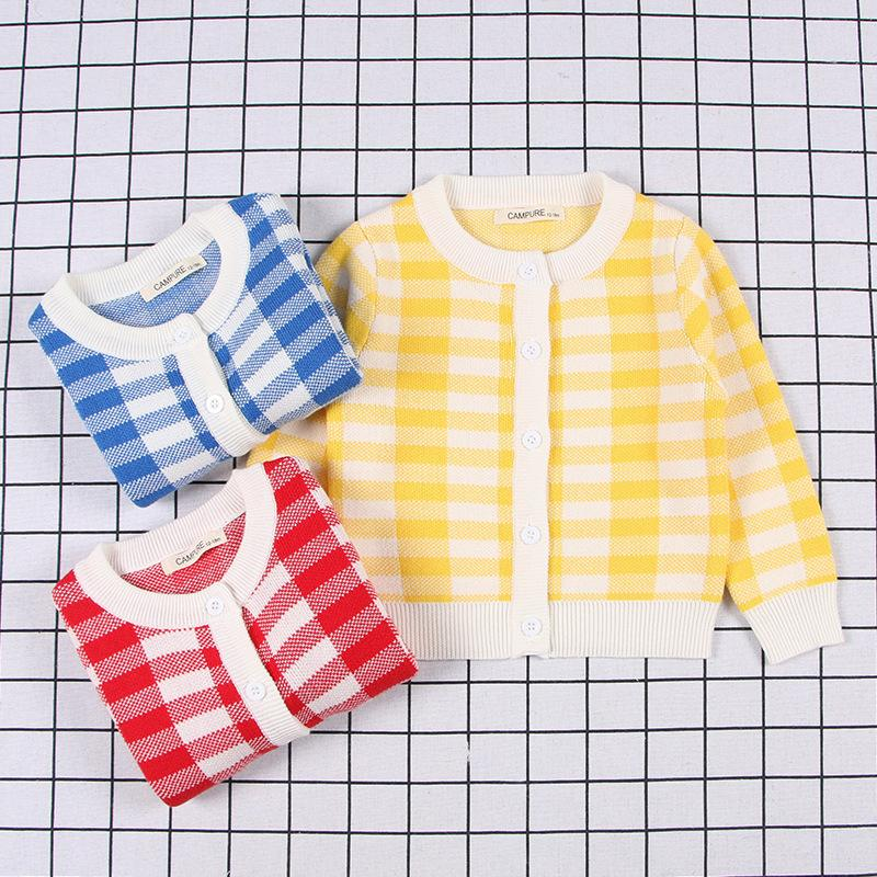 7138bdb9da42 Baby Boys Sweaters Children Single Breasted Coat 2019 Autumn Winter Baby  Girl Plaid Knitted Top Children Sweater Kids Clothes Knitted Sweater  Patterns For ...
