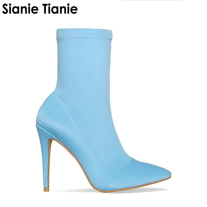 Stilettos Heels Booties Blau Stiefel Heiße Socken Spitz Frühjahr Neue Schuhe High Zip 2019 Frau Stretch Schwarz Sianie Tianie Dünne PuZikX