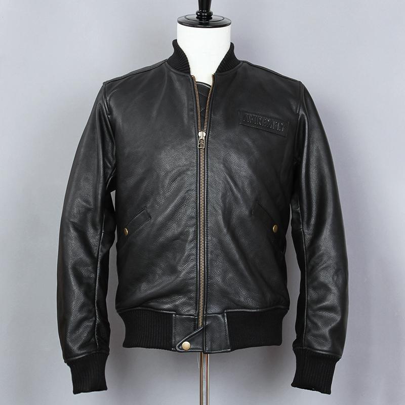 d1251c4b25376 Compre Avirex Fly Jacket Chaqueta De Cuero Genuino Hombres Slim Fit Stand  Collar Cowskin Baseball Short Black Casual Coat A  288.53 Del Laftfly