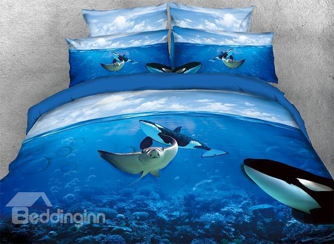 Großhandel Mantarochen Und Orcas In Ocean 3d 4 Teilige Bettwäsche