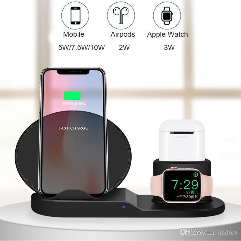 Supporto caricabatterie wireless 3 in 1 per Apple Watch e Airpods Stazione di ricarica wireless Qi Fast compatibile per iPhone X / XS / XR / 8