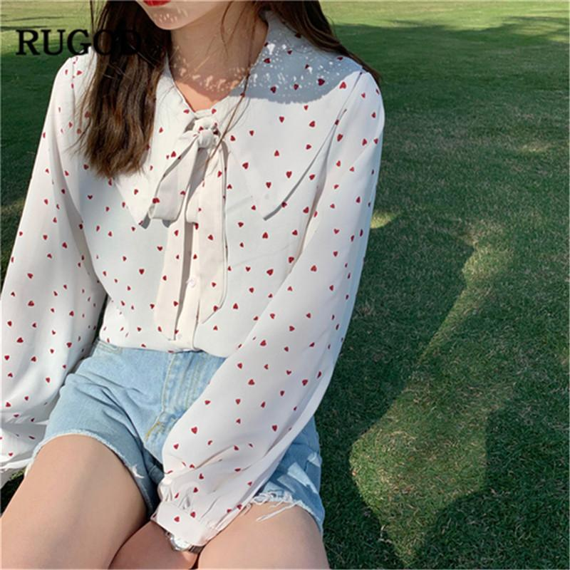 79b445cf RUGOD New Summer Shirt Heart Spotted Bow Knot Collar Chiffon Long Sleeves  Fashion Casual Sweet Women Tops Office Ladies Shirts UK 2019 From  Lightlight, ...