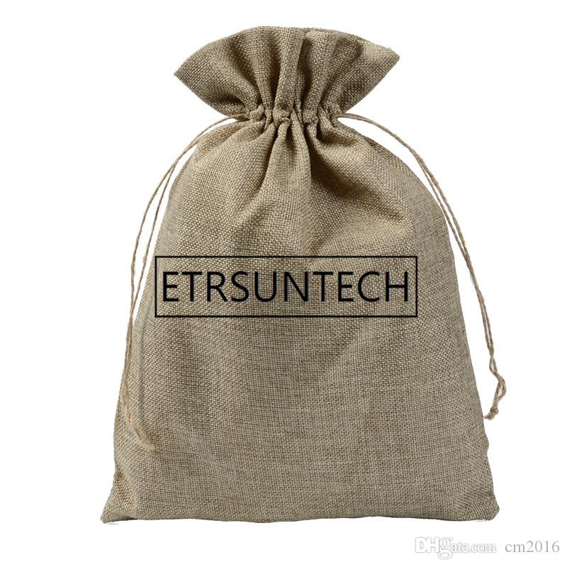 100pcs/lot Linen Drawstring Pouch Storage Bag Jute Pouch Christmas/Wedding Party Candy Gift Gunny Packaging Bag 25x35cm