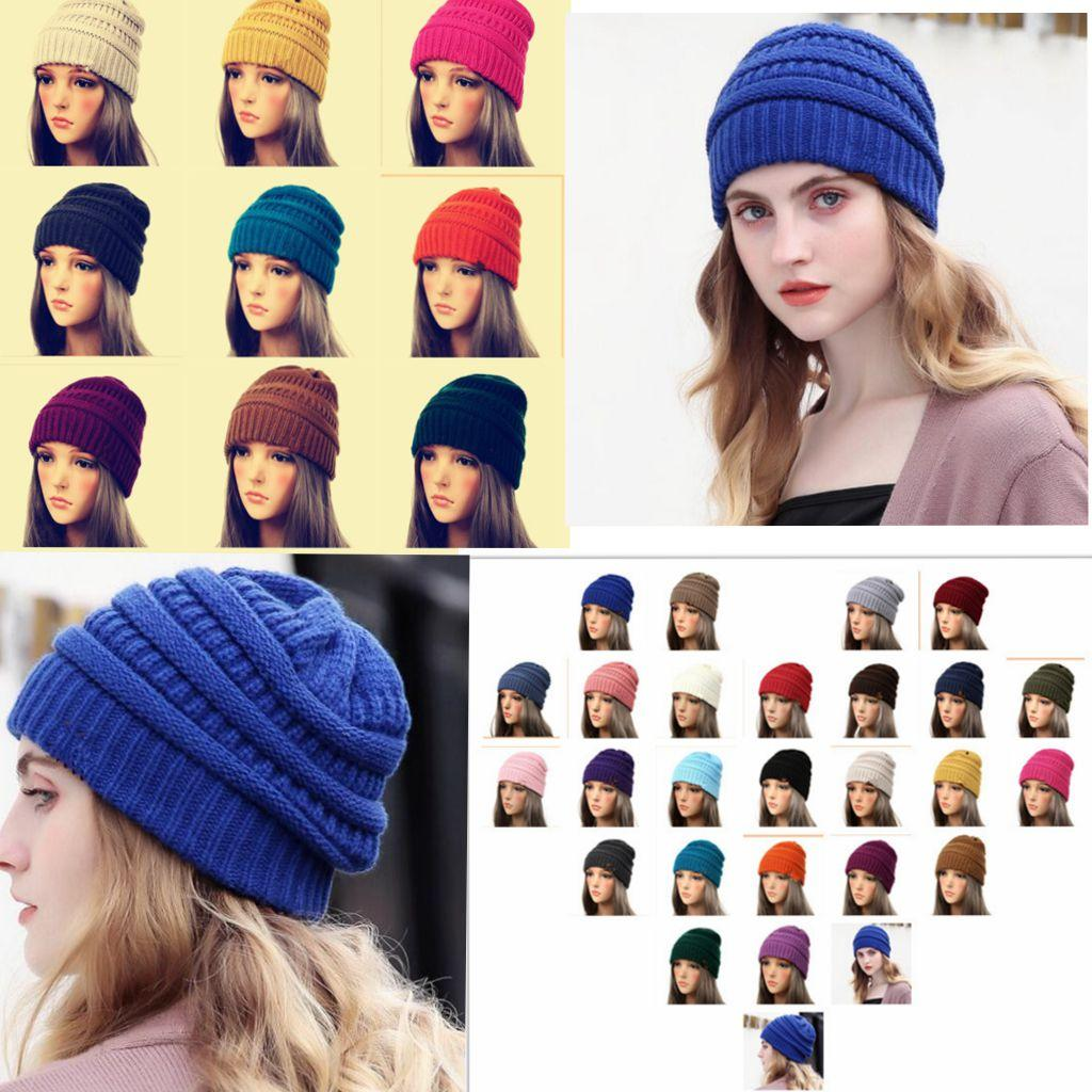 307d3d49a 25 color adult Women Cap Hat Skully Trendy Warm Chunky Soft Stretch Cable  Knit Slouchy Beanie Winter Hats Ski Cap KKA6309