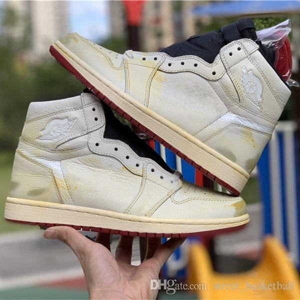 1e7602dc204 New Release 1 OG High x Nigel Sylvester 1S 3M White Yellow Basketball Shoes  For Men Authentic Sports Sneakers With Box BV1803-106