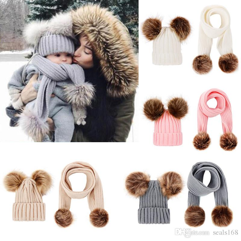Baby Knit Hat And Scarf Sets Kids Winter Warm Fur Pom Hat Solid Beanie Ski Cap Scarf Kit Xmas Party Hats 5 Colors HH9-2420
