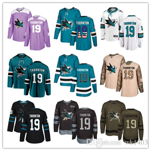 new style 721ef 2641a San Jose Sharks jerseys #19 Joe Thornton Jersey ice hockey men women youth  blue white black teal green drift Stiched Fanatics Jerseys
