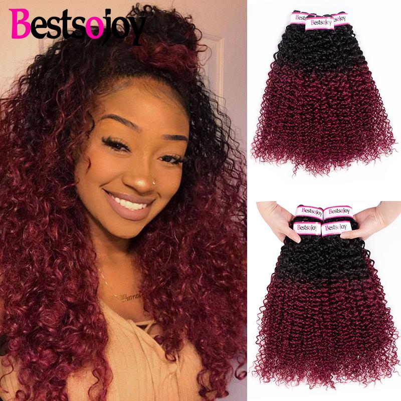 Bestsojoy Pre-colored 3 Bundles Deal Ombre Kinky Curly Hair Burgundy Bundles T1B 99J Color Virgin Human Hair Weave Bundles