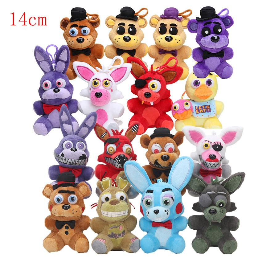 Dolls Accessories Dolls 14cm fnaf keychain Five Nights At Freddy's plush toys Freddy Fazbear Chica Mangle Foxy Bonnie plush bag pendant toy