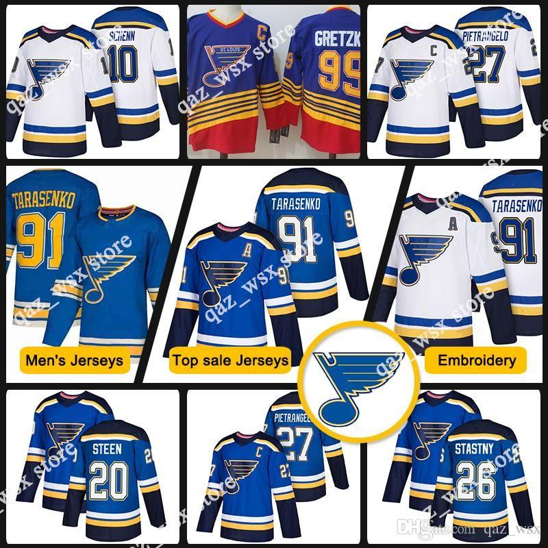 san francisco 21a82 64bff 18 19 St. Louis Blues Jerseys 91 Vladimir Tarasenko 27 Alex Pietrangelo 99  Wayne Gretzky 10 Brayden Schenn 20 Steen 26 Stastny Jersey