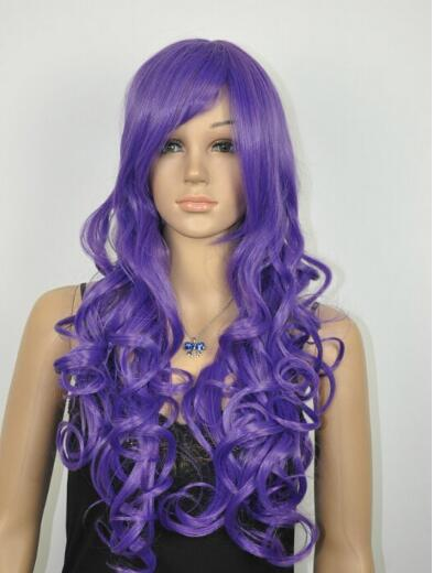 FREE SHIPPING+ ++ new Pretty long women's fashion Deep purple hair wig wigs for women