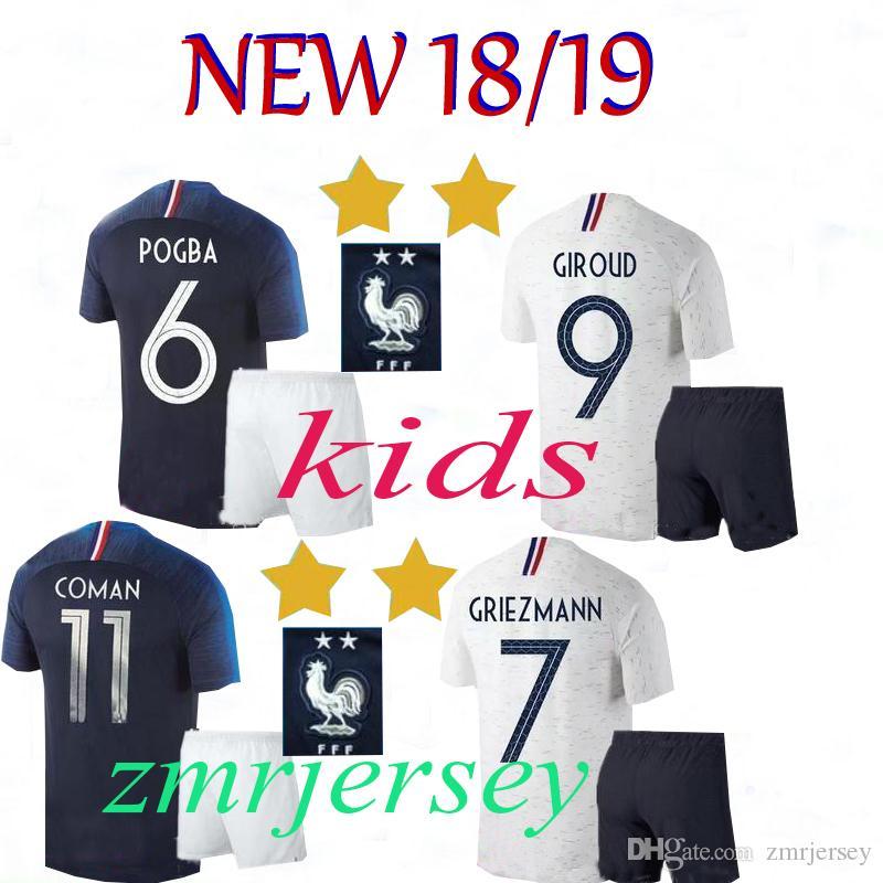 Compre 2 Estrellas 2018 Copa Mundial Francia Niños GRIEZMANN MBAPPE POGBA  Camisetas De Fútbol 2018 2019 2 Estrellas DEMBELE KANTE Camiseta De Fútbol  ... ccaf758178f70