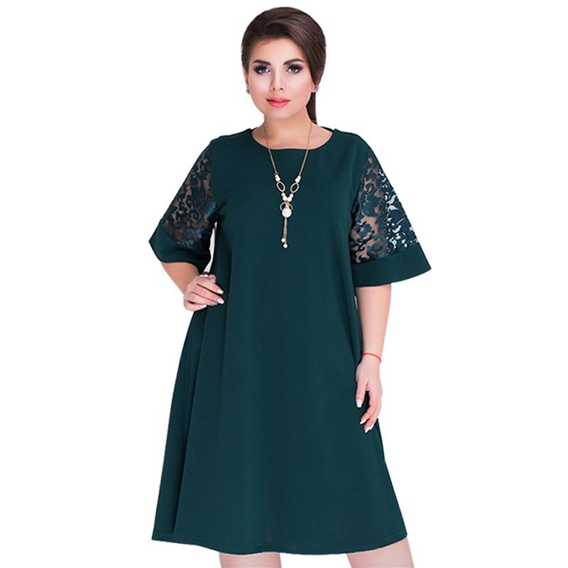 6XL Big Size Dress Female Summer Fashion Women Plus Size Shift Dress Lace  Insert Half Sleeve O Neck A Line Casual Oversize Dress Black And Gold  Dresses For ... 69a1217150d8