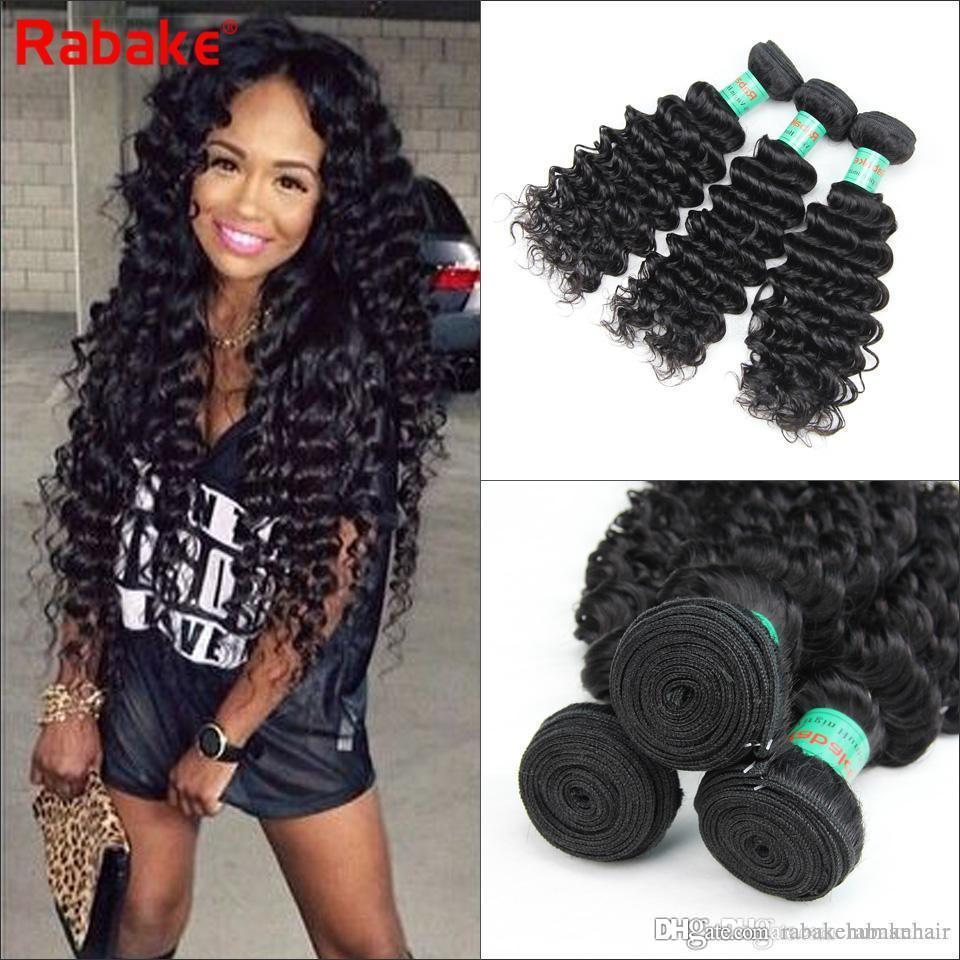 Brazilian Virgin Hair Deep Wave Bundles 3/4pcs Grade Brizilian Human Hair  Extensions Rabake Deep Curly Cuticle Aligned Wavy Weaves