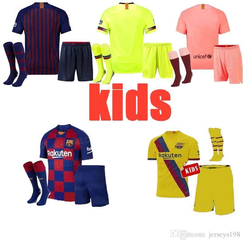meet b205f c4057 19 20 Barcelona Soccer jerseys kids MESSI 10 SUAREZ PIQUE VIDAL 2020 HOME  AWAY THIRD KITS SET CHILD MAN BOY JERSEY FOOTBALL SHIRTS DEMBELE